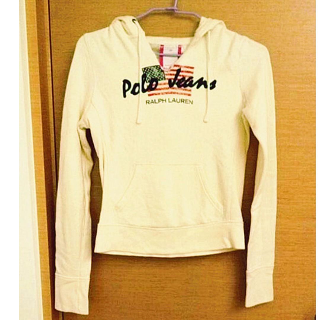 專櫃RL正品 Ralph Lauren POLO 米色貼布長袖刷毛連帽T  ※DA-250AA57※