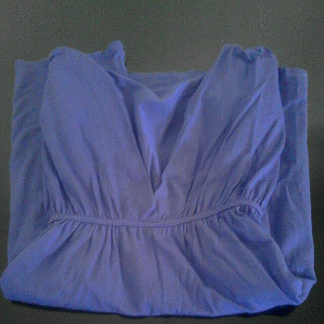Semi Dress Biru Bahan Kaos Elastis