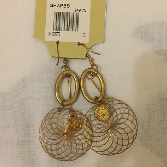 Shapes Gold Tone Dangling Earrings
