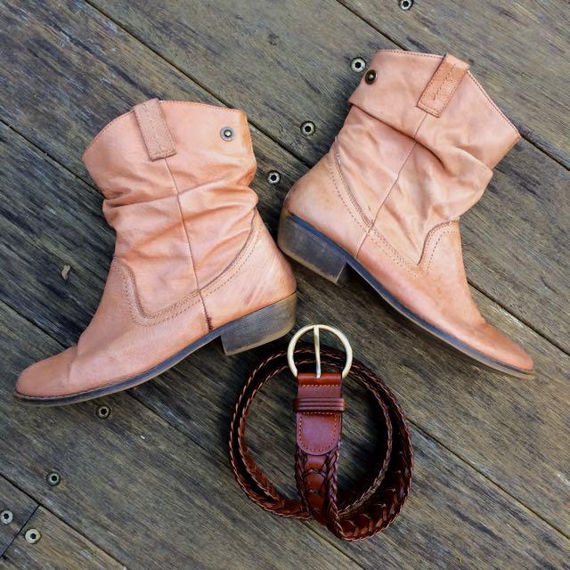 Steve Madden Leather Boots + Belt