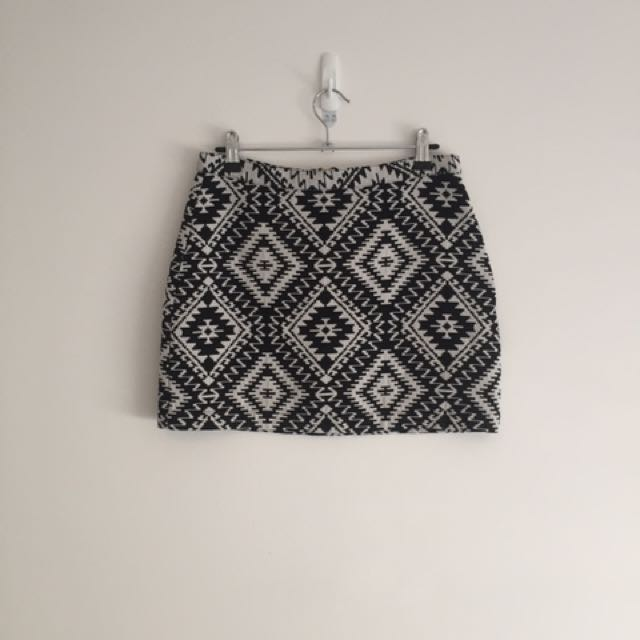 Topshop Black And White Skirt