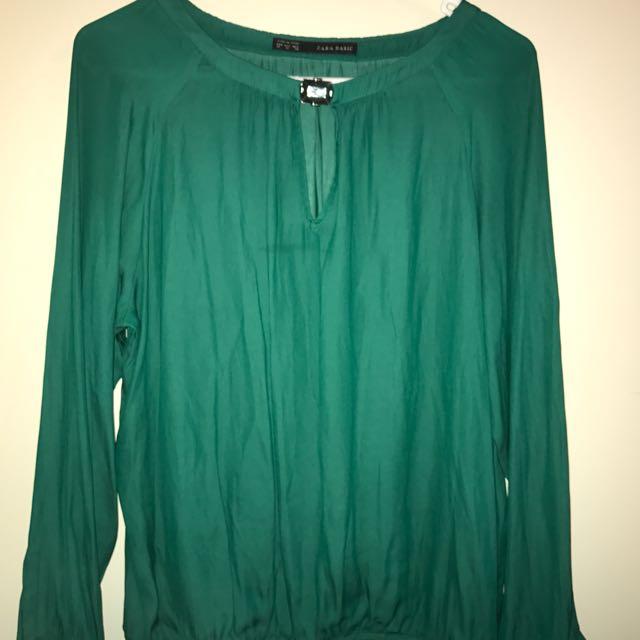 Zara Basic Long Sleeve Emerald Green Top