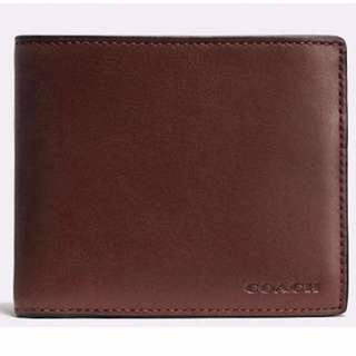 COACH Compact ID Wallet In Sport Calf Leather F74991 Mahogany