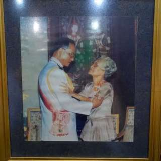 Thailand king Rama 9, bhumibol adulyadej with mother portrait in frame picture, thai vintage antique