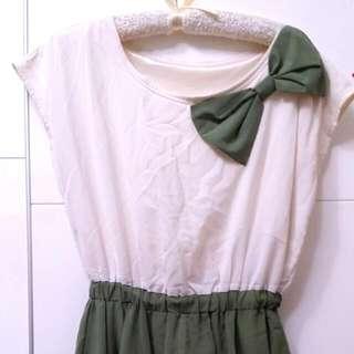 韓風 雪紡 綠蝴蝶結 洋裝♡