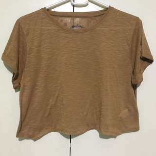 Monsoon Brown Lace Back Cropped Top