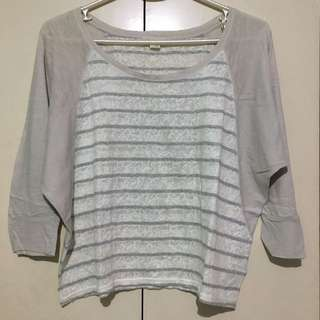 Forever 21 Gray Lace Semi-Batwing Top