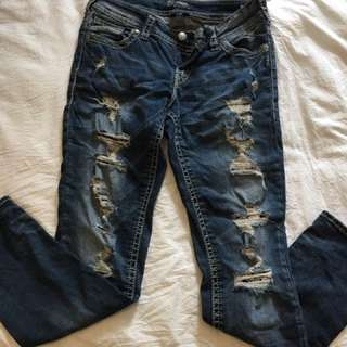 Silver TOrn jeans With Lace
