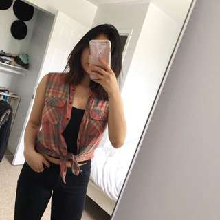 Topshop Sleeveless Plaid Shirt