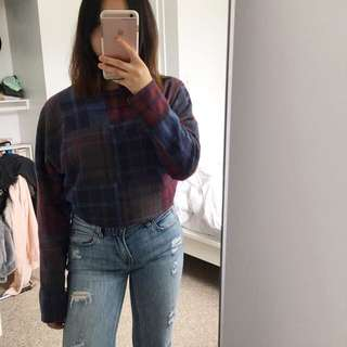 Topshop Plaid Crop Sweater