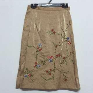 亮面花朵刺繡米色古著窄裙