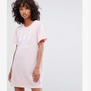 英國代購🇬🇧 Adidas Originals 粉色洋裝 運動 少女 長版Tee T-shirt 粉紅 T 三葉草