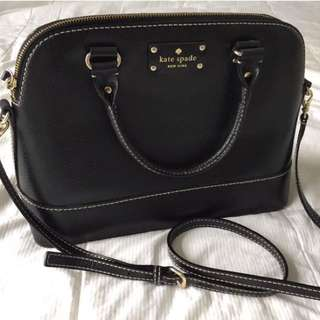 KATE SPADE Black Leather Structured Purse (medium)
