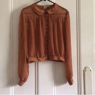 Asos Cropped Button Up Sheer Shirt Size 8