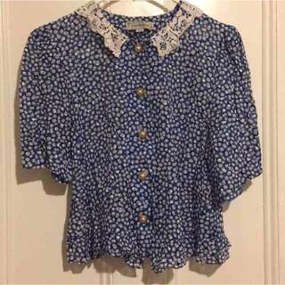 Vintage Lace Collar Shirt Size Small