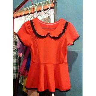 Orange Collar Peplum