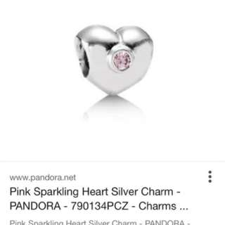 Pandora Charm Heart With Pink Stone