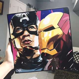 Captain America And Iron Man Popart