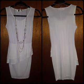 White Dress With Chain Necklace