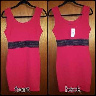 Red Dress With Mesh Waistline