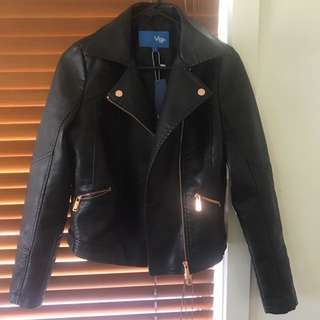 Valley girl Rose Gold Detail Leather Jacket