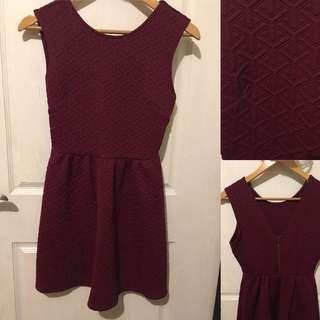 Forever 21 Textured Burgundy Dress