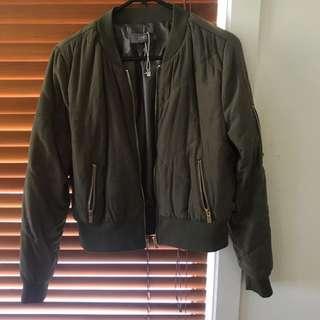 Temt Khaki Green Bomber Jacket