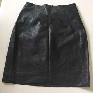 BLACK LEATHER BODYCON SKIRT