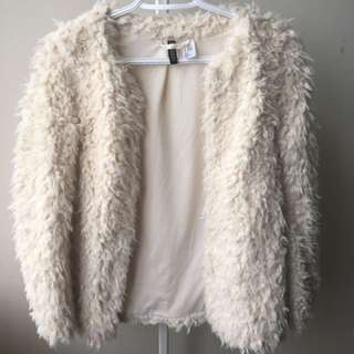 WHITE FUR JACKET COAT