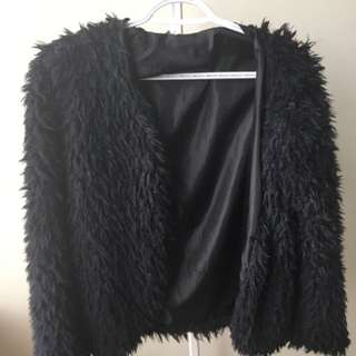 SIZE S-M BLACK FUR COAT SWEATER