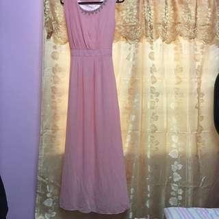 Plain Pink Long Dress🌸