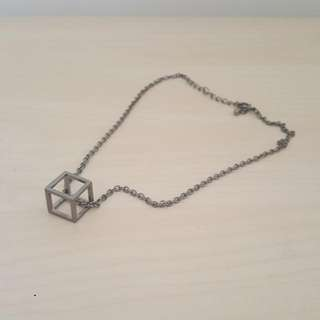 Silver Cube Necklace [T-10]