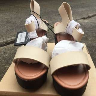 NEW RRP $59.95 Rubi SZ 39 Beige Ankle Strap Platform Chunky Sandal Heels