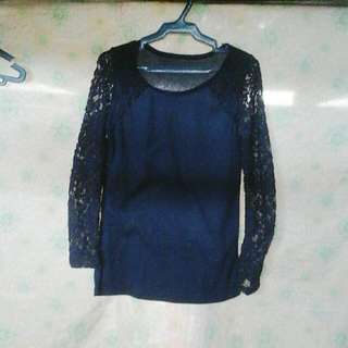 Lace-sleeved Pullover