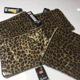 Plastic Leopard Print Pouches (lot Of 4)
