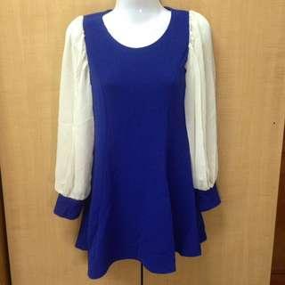 寶藍色雪紡薄袖洋裝