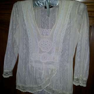 Romantic Shirt With Lace Inset