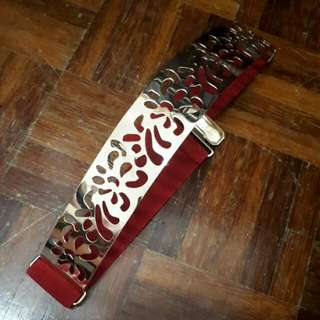 Golden Plate Red Elastic Belt