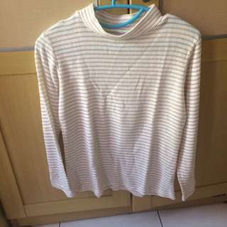 Turtle Neck Stripe White