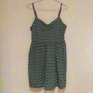 Ann Taylor's Loft Black Diamond Pattern Casual Mini Dress