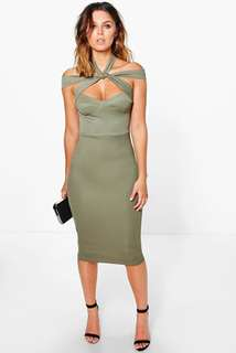 Boohoo Strappy Top Detail Dress in Khaki