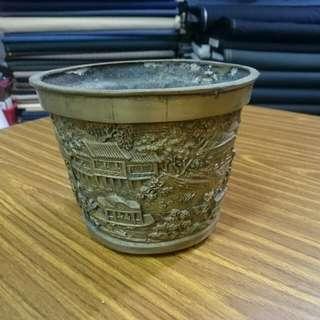 旧铜花盆4寸半x5寸半