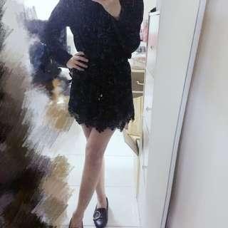 黑色襯衫蕾絲長洋裝