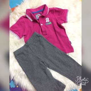 Authentic Set Mothercare Polo Shirt And Carters Pants