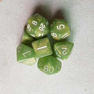 7 Piece Gaming Dice - Green With Gold Flecks, White Numbers