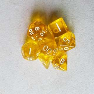 7 Piece Gaming Dice - Yellow Transparent, White Numbers