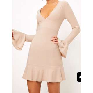 Pretty Little Thing Nude Plunge Frill Bodycon Dress