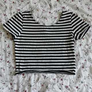 H&M Stripe Crop Top