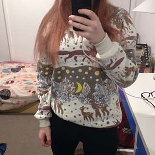 Cute Forest Animal Print Sweater