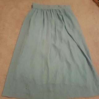 Pin Stripe Mint Green Mid Length Skirt